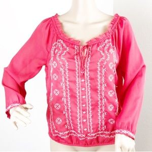 American Eagle Outfitters red embroidered top